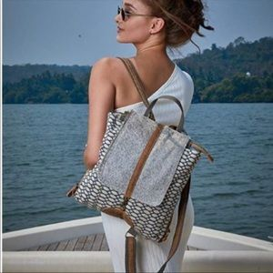 Handbags - Myra bag backpack up cycled material NWT